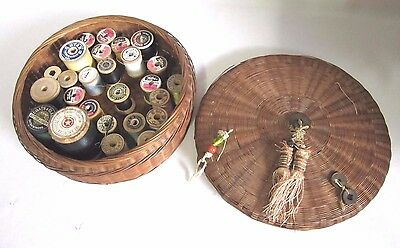 27 Vintage Wooden Thread Spools In A Woven Wicker Round Sewing Basket