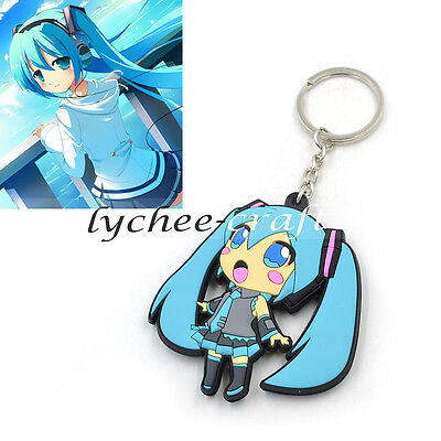 Japan Anime Cute Hatsune Miku Pendant Keychain Key Bag Car Ring New Gift  Blue