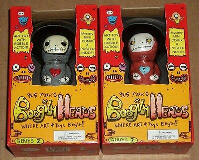 Rocket USA BOOGILY HEADS Gus Fink SKULLKNOME + RED VARIANT Series 2 BOBBLE New