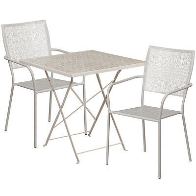 28'' Square Gray Indoor-Outdoor Steel Patio Restaurant Table Set W/2 Chairs