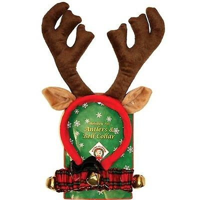DELUXE DOG REINDEER ANTLERS & COLLAR Christmas Puppy Pet Ears Present Gift SMALL