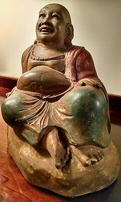 Polychrome Wood Buddha Laughing Ho Tai Dharma Monk Antique Chinese Bag Of Gifts