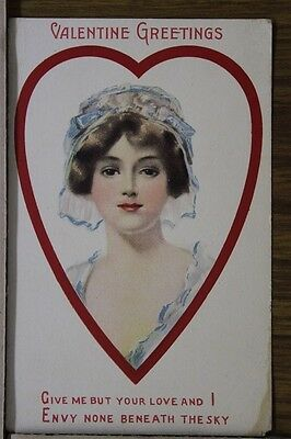"ANTIQUE 1910's VALENTINES ""Brides picture Inside a Heart Shape"" Unposted"