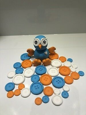Giggle Owl Edible With 35 Buttons Cake Topper, Fondant, Gum Paste.