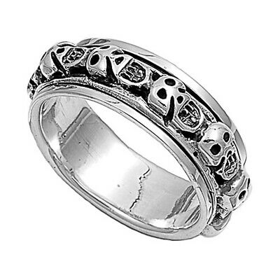 Men Women 8mm 925 Sterling Silver Band Skull Spinner Ring / Gift Box