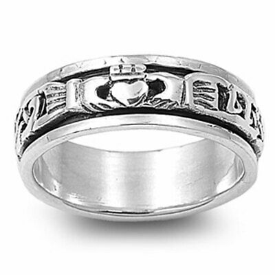 Men Women 6mm 925 Sterling Silver Oxidize Finish Celtic Claddagh Spinner Ring