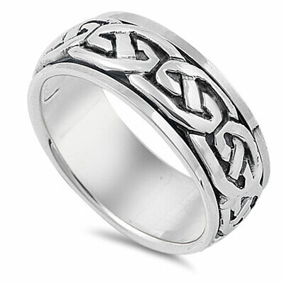 Men Women 9mm 925 Sterling Silver Oxidize Finish Celtic Design Spinner Ring