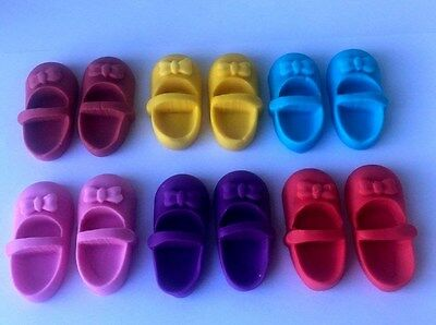 BABY SHOES CUPCAKE TOPPER 3D EDIBLE CHIRSTANING BIRTHDAY CAKE x12