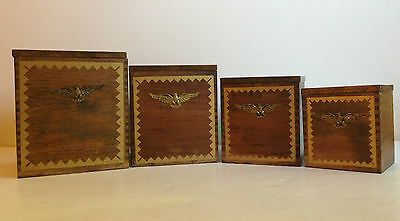 VTG Mid Century Eagle Dovetail Wood Nesting Canister Coffee Sugar Flower 4pc Set