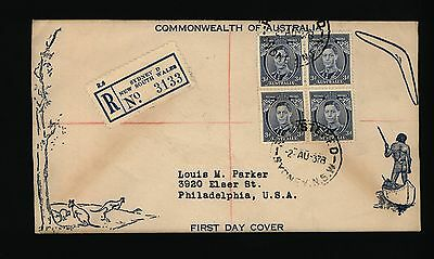 Australia stamps - 1937 KGVI 3d Blue in Block of 4 on Registered FDC 2/8/37