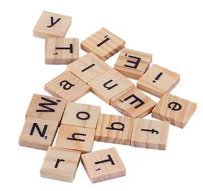 100x Wooden Wood Alphabet Scrabble Tiles English Letters For Craft Decoration UK