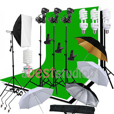 Photo Studio Softbox Backdrop Umbrella Lighting Kit Background Stand Set US Fast