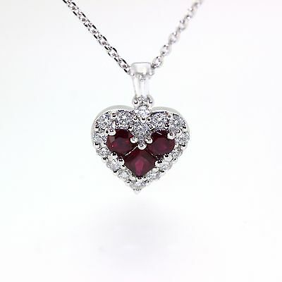 18k & 14k White gold Natural untreated Ruby & Diamond Heart necklace chain set