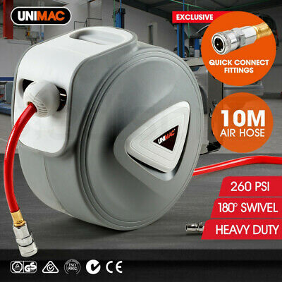NEW Unimac 10m Retractable Air Hose Reel Commercial Wall Mounted Auto Rewind