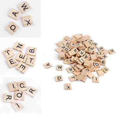 100x Wooden Alphabet Scrabble Tiles English Letter For Craft Toy Wood Piece UK