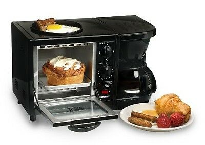 3 In 1 Electric Black Breakfast Station Oven Toaster Coffee Maker Griddle Egg