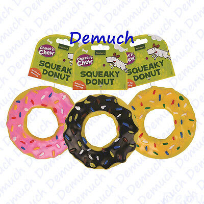 New SQUEAKY DOUGHNUT DOG TOY Fun Strong Rubber Puppy Chew Squeaker Donut Pet UK✔