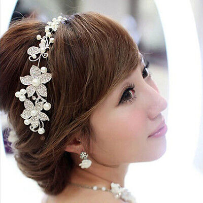 Elegant  Bridal Forehead Headdress Pearl Wedding Tiara Headwear Hair Accessory