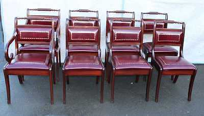 Set 8 Rope Back Mahogany Dining Chairs with Red Leather seats. 1960's 6+2