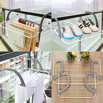 Radiator Towel Clothes Airer Dryer Folding Wall Mounted Drying Rack 5 Rail Bar