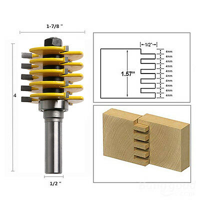 "1/2"" Shank 5 Blade 3 Flute Box Joint Router Bit Adjustable Woodworking Cutter"