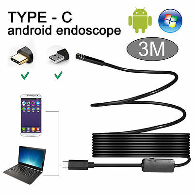 3M 8mm Waterproof  Type C Rigid Cable Endoscope USB Borescope Inspection Camera