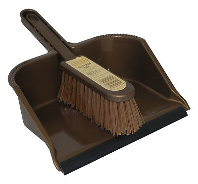 Harris Victory Groundsman Plastic Dustpan and Brush Set Home Cleaning Sweeping