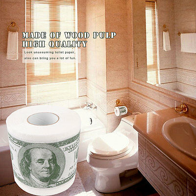 Funny Gag Gift 100$ USD Dollar Bill Novelty 2 Ply Printed Soft Toilet Roll Paper