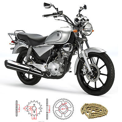 Yamaha YBR 125 Custom 27S 2009 Gold Heavy Duty Chain and Sprocket Kit Set YBR125