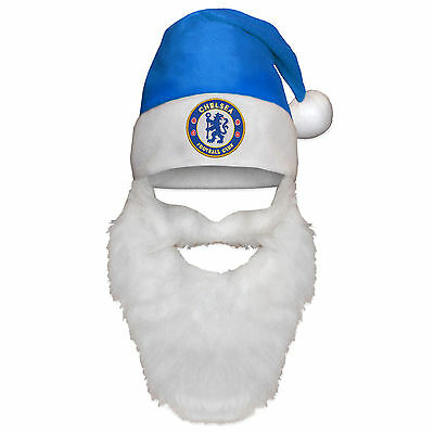 Chelsea Football Club Official Xmas Gift Christmas Santa Beanie Hat with Beard