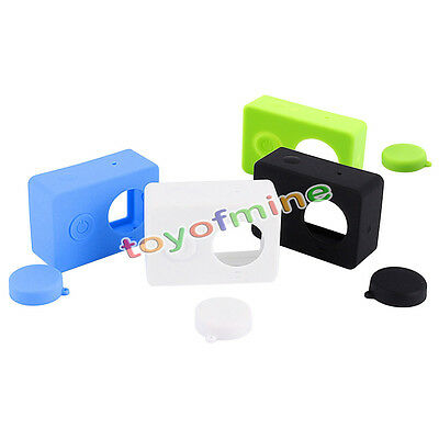 Soft Silicone Sports Case Cover Skin Protector For Xiaomi Yi Camera + Lens Cap S