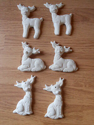 C-0306 (6) Christmas One sided Softie Deer Ornaments Ceramic Bisque U Paint