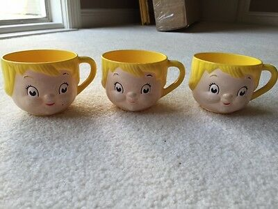 vintage Campbell soup girl plastic mugs