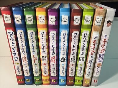 Lot Of 10 Diary Of A Wimpy Kid Book Series Jeff Kinney Complete Set Hardcover