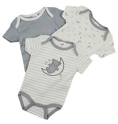 Baby Boys 3 Pack Bodysuits - Cream & Grey (0-9 Months)