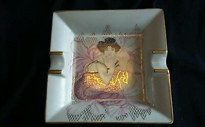 "Vintage Limoges  Porcelain Ashtray Lovers  by DIMONTO LA MANO 7"" x 7"""