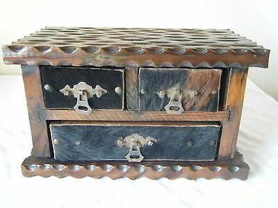 Vintage Rustic Gothic Spanish Miniature 3 Draw Chest Jewellery Trinkets Chest