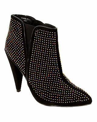 Womens Black Faux Suede Studded Pull On Stretch Ankle Boots Ladies Uk Size 4-9