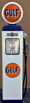 New Gulf  Reproduction Gas Pump - Antique Oil  Replica (White & Blue) Free Ship*