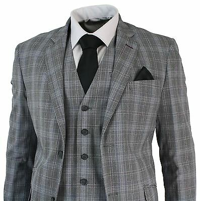 Mens 3 Piece Grey Black Prince Of Wales Check Suit Tailored Fit Vintage Retro
