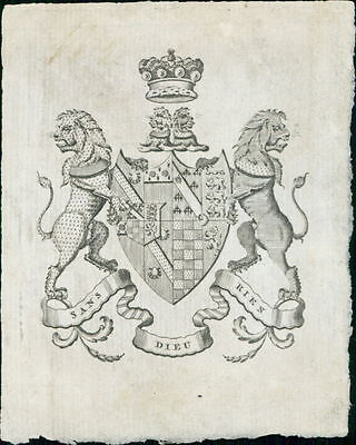 Petre family crest. c.1850. Crown lion leopard JD.1256