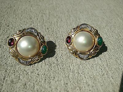 Cool 14K Gold Mabe Pearl Jeweled Earrings