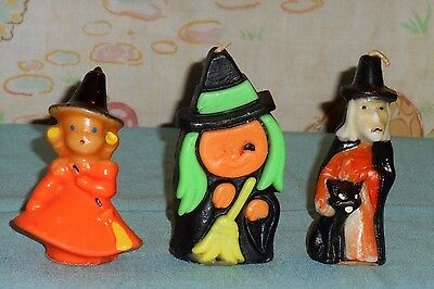 vintage Halloween GURLEY & SUNI CANDLE LOT OF 3 witch witches