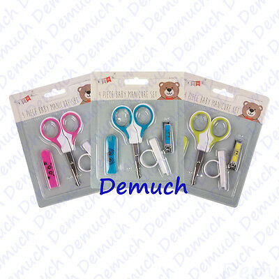 New 4 Pieces Baby Nail Care Manicure Pedicure Kit Set Scissors Clipper Gift UK ✔