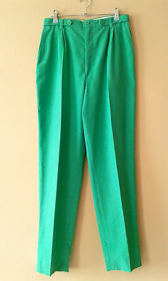 80s vintage high-waisted green trousers 12 - 14 new wave