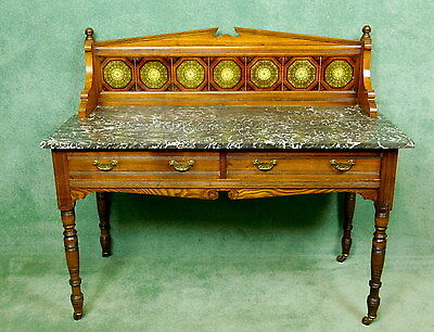 Edwardian Oak Tiled Back Marble Top Washstand
