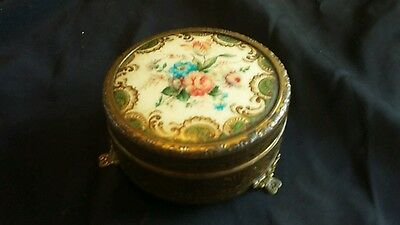 Petit Point Powder Trinket Pot Compact With Mirror Vintage