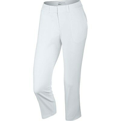 NWT NIKE GOLF Tournament Crop PANT White DRI-FIT 3 Qtr 725712 Ladies 12 MSRP $85
