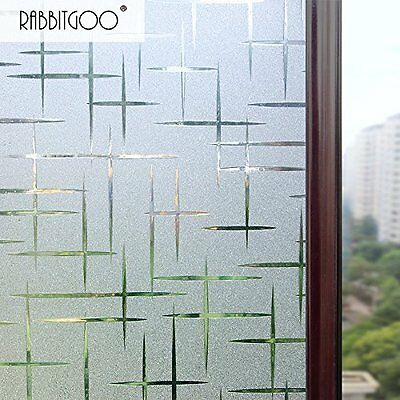 3D Cross Pattern Frosted No Glue Static Cling Privacy Glass Window Films Anti UV