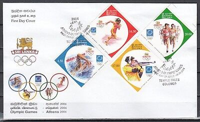 * Sri Lanka, Scott cat. 1481-1484. Athens Olympics issue on a First day cover.